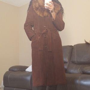 Jackets & Blazers - Vintage 1970's suede and faux fur coat